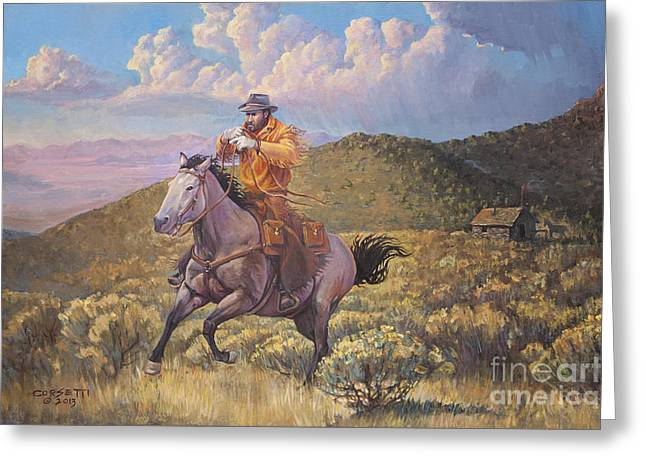 Pony Express Rider At Look Out Pass Greeting Card
