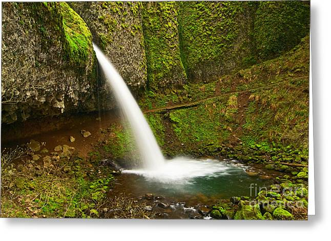 Ponytail Falls At The Columbia River Gorge In Oregon. Greeting Card