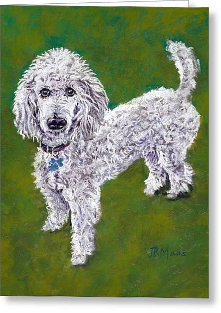 Greeting Card featuring the pastel Poodle Pal by Julie Maas