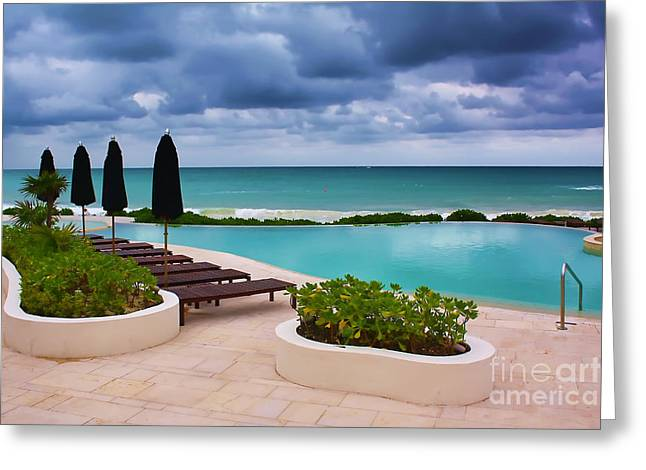 Pool At Rosewood Mayakoba Greeting Card by Teresa Zieba