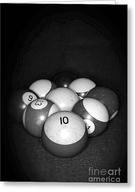 Pool Balls In Black And White Greeting Card by Paul Ward