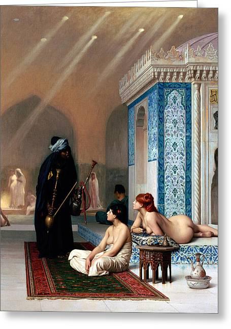 Pool In A Harem Greeting Card by Munir Alawi