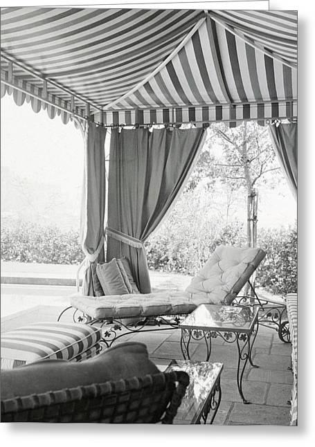Pool Side Lanai Designed By James Pendleton Greeting Card