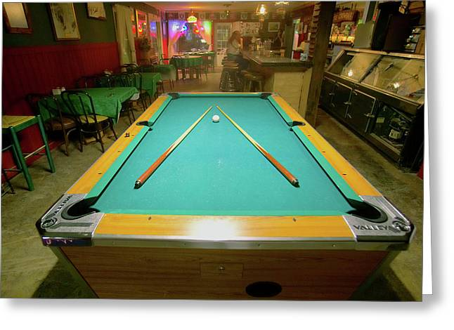 Pool Table Lit By Electric Lights Greeting Card