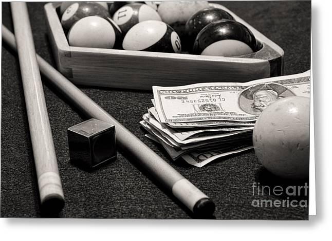 Pool - The Hustler -  Black And White Greeting Card