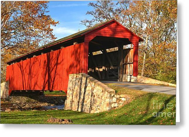 Poole Forge Covered Bridge Crop Greeting Card by Adam Jewell