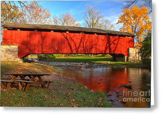 Poole Forge Covered Bridge Reflections In The Conestoga Greeting Card by Adam Jewell