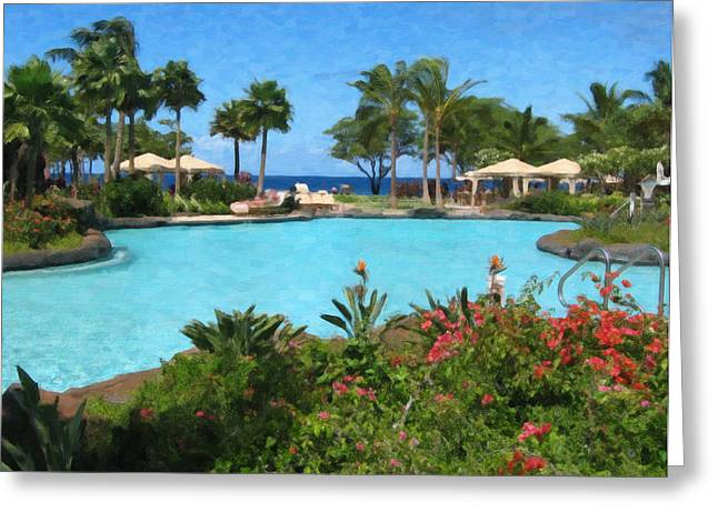 Poolside At Maui Greeting Card by Danny Smythe