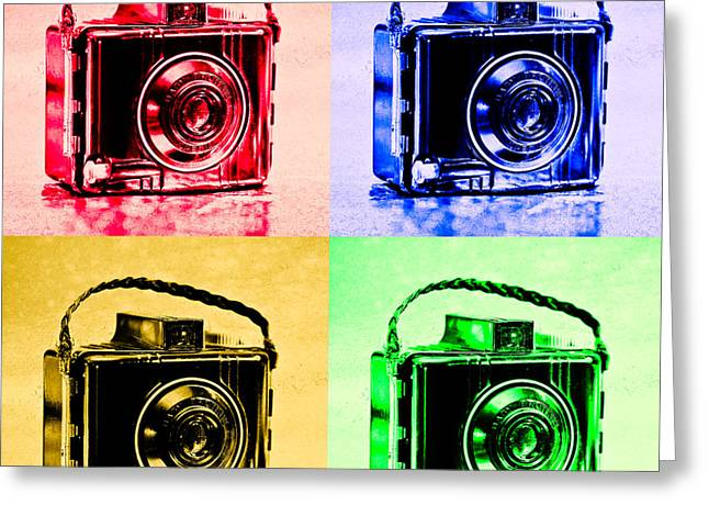 Pop Art Brownie Cameras Greeting Card by Jon Woodhams