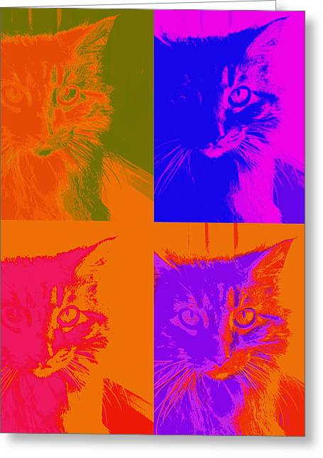 Pop Art Cat  Greeting Card by Ann Powell