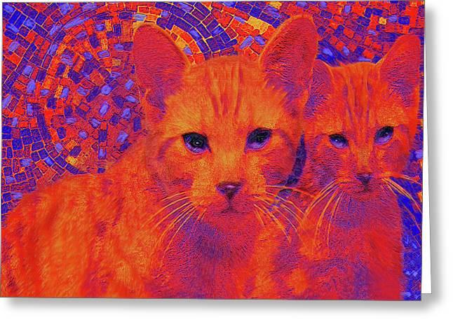 Pop Art Cats Greeting Card by Jane Schnetlage