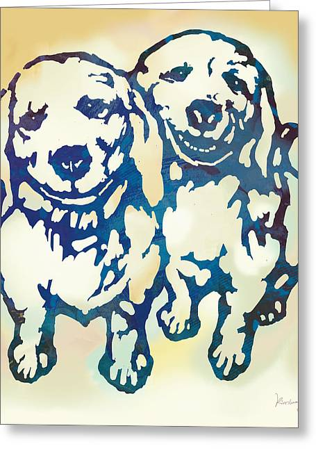 Pop Art Etching Poster - Dog - 10 Greeting Card by Kim Wang