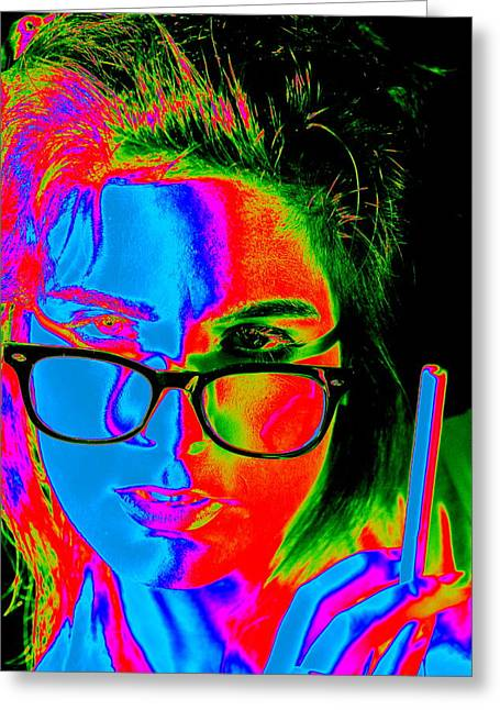 Pop Art Lady Greeting Card