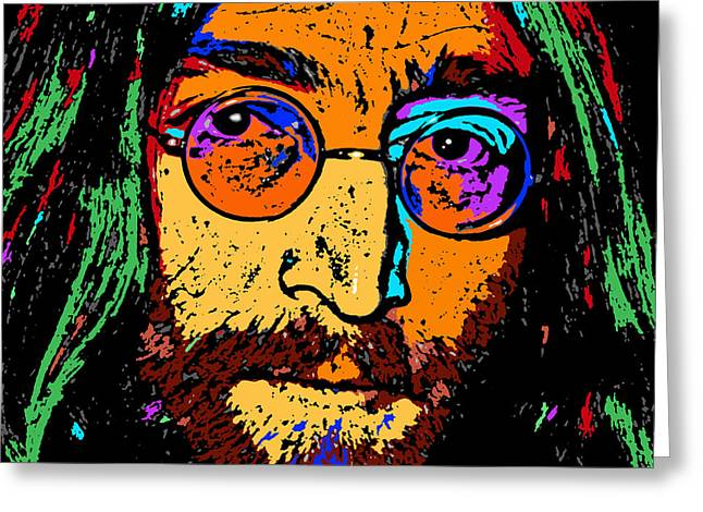 Pop Art Lennon Greeting Card by David G Paul
