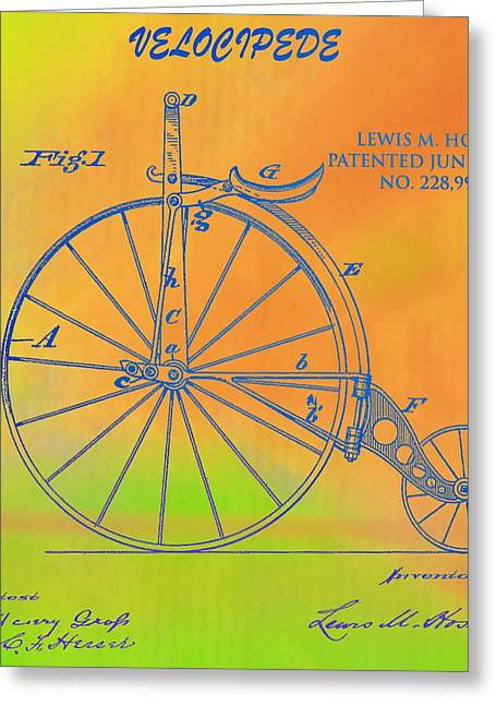 Pop Art Velocipede Patent Greeting Card by Dan Sproul