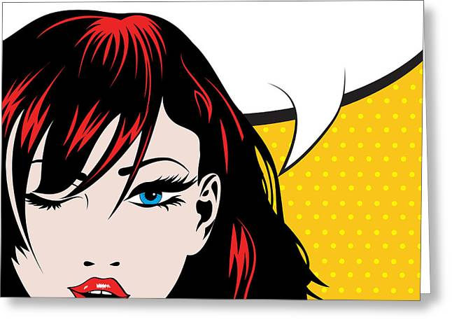 Pop Art Woman Winks. Vector Greeting Card