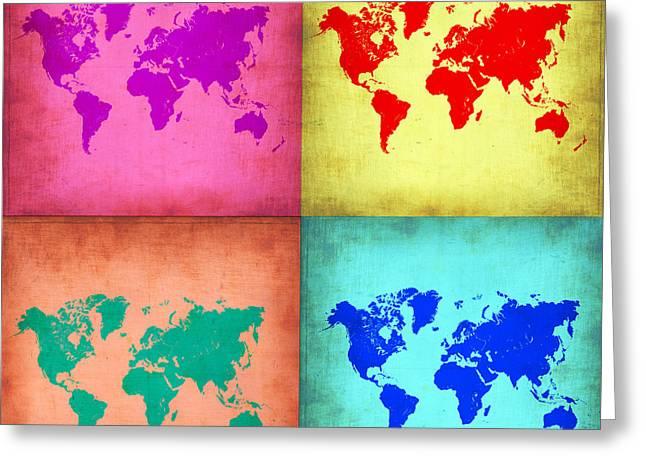 Pop Art World Map 1 Greeting Card by Naxart Studio