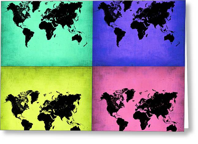 Pop Art World Map 2 Greeting Card by Naxart Studio