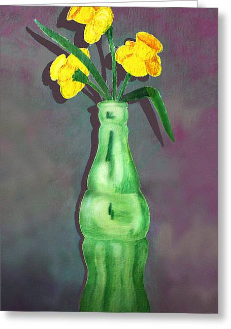 Pop Bottle Daffodil Greeting Card