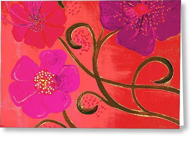 Pop Spring Purple Flowers Greeting Card by Linda Bailey