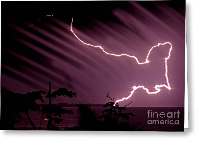 Popa Island Lightning Greeting Card