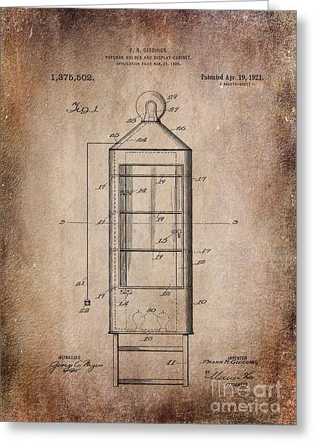 Popcorn Display Antiqued Patent Art Greeting Card by Lesa Fine