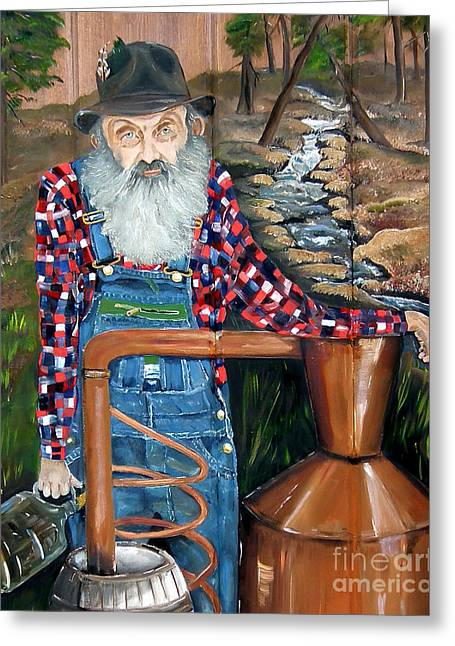 Greeting Card featuring the painting Popcorn Sutton - Bootlegger - Still by Jan Dappen