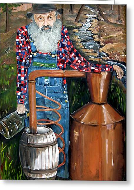 Greeting Card featuring the painting Popcorn Sutton - Moonshiner - Redneck by Jan Dappen