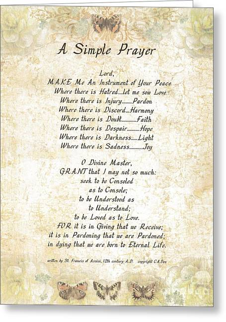 Pope Francis St. Francis Simple Prayer Butterflies Greeting Card by Desiderata Gallery