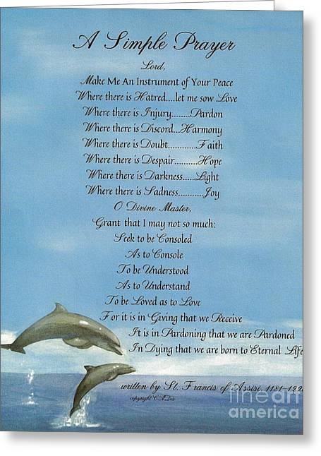 Pope Francis St. Francis Simple Prayer Dolphins Tking A Leap Of Faith Greeting Card by Desiderata Gallery