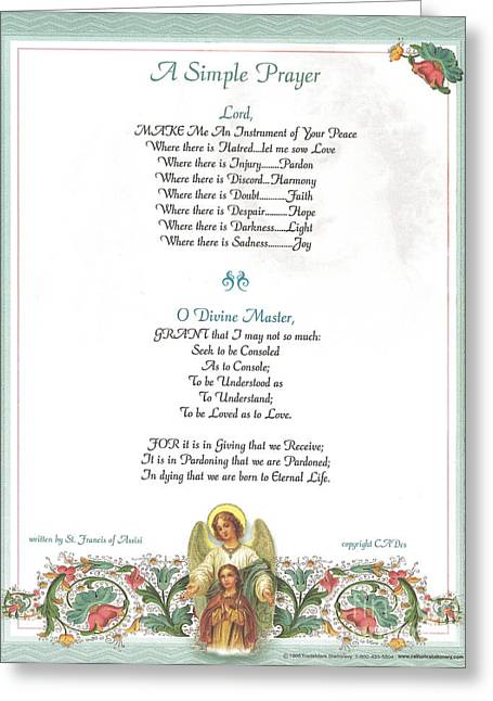 Pope Francis St. Francis Simple Prayer Florentine Angel Greeting Card