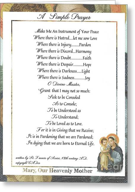 Pope Francis St. Francis Simple Prayer Mary Greeting Card by Desiderata Gallery