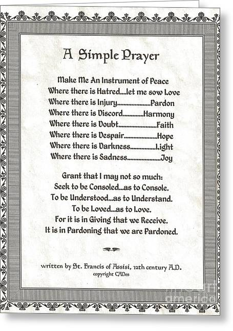 Pope Francis St. Francis Simple Prayer Peace On Parchment Greeting Card