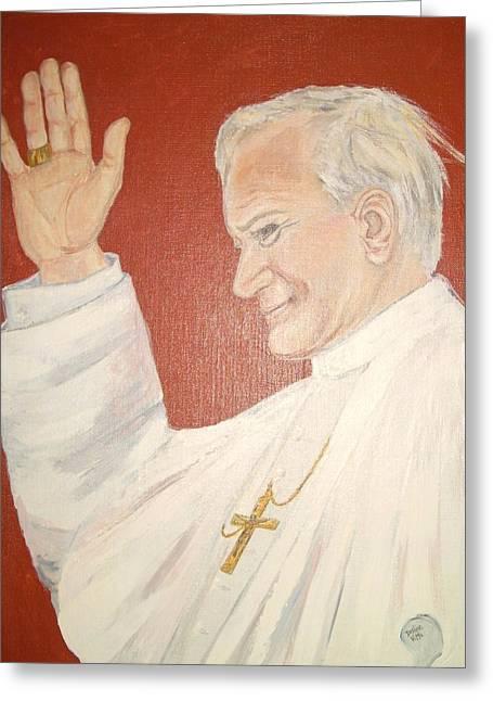 Pope Johnpaul II Greeting Card by Desline Vitto