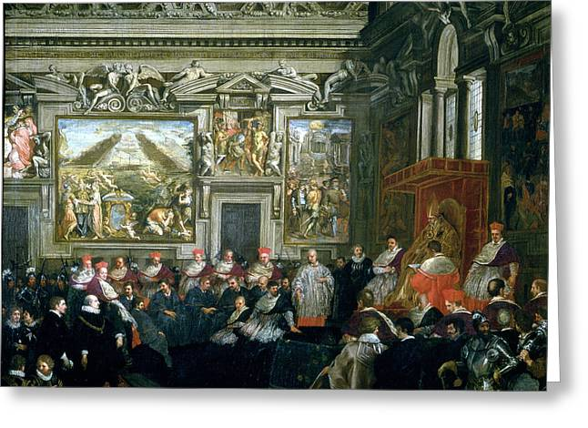 Pope Paul V 1522-1621 With An Audience, 1620 Oil On Canvas Greeting Card