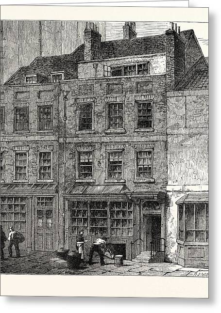 Popes House Plough Court Lombard Street 1860 London Greeting Card by English School