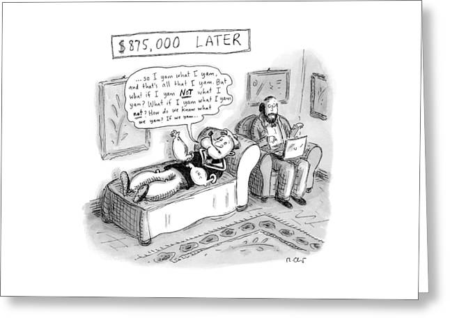 Popeye Lies On A Couch At Psychiatrist. Speaks Greeting Card