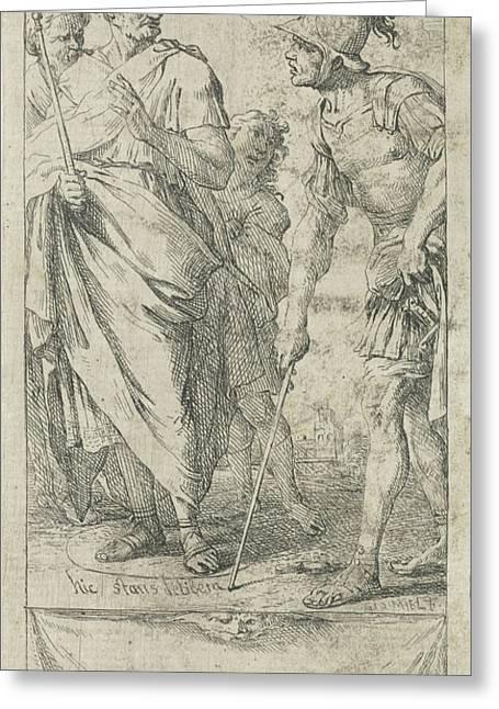 Popilius Laenas Draws A Circle, Jan Miel Greeting Card by Jan Miel