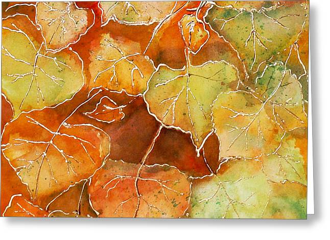 Poplar Leaves Greeting Card by Susan Crossman Buscho