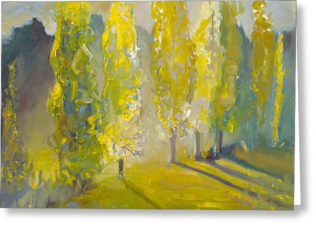 Poplars In The Morning Greeting Card