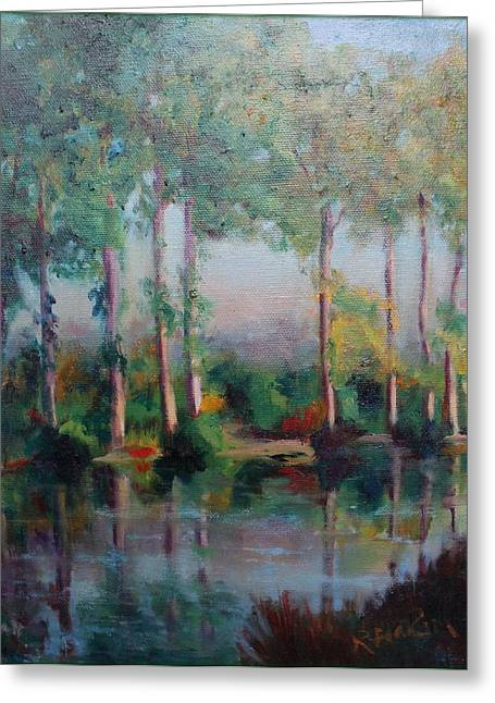 Greeting Card featuring the painting Poplars by Rosemarie Hakim