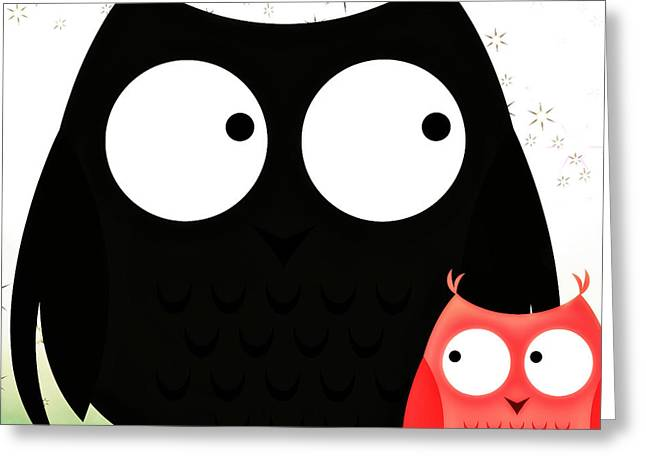 Poppa And Baby Owl  Greeting Card