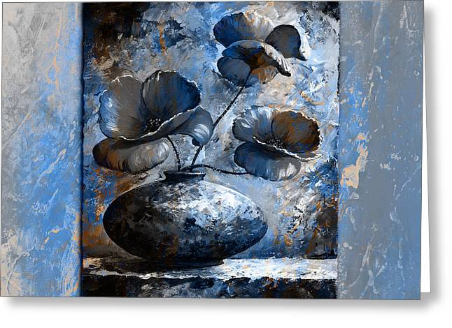 Poppies 02 - Style Blue Peach Greeting Card by Emerico Imre Toth