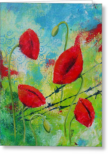 Poppies And Barbed Wire Greeting Card by Bitten Kari