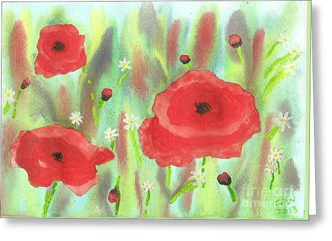 Poppies And Daisies Greeting Card by John Williams