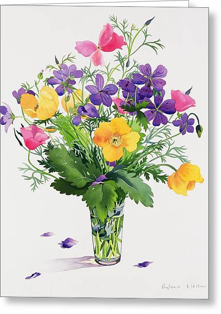 Poppies And Geraniums Greeting Card