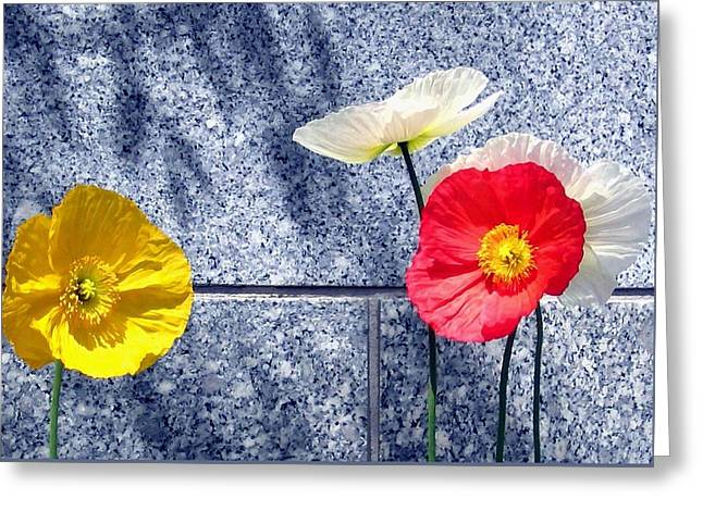 Greeting Card featuring the digital art Poppies And Granite by Will Borden