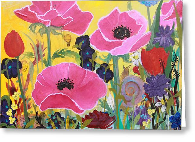 Greeting Card featuring the painting Poppies And Time Traveler by Robin Maria Pedrero