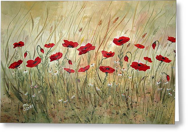 Greeting Card featuring the painting Poppies And Wild Flowers by Dorothy Maier
