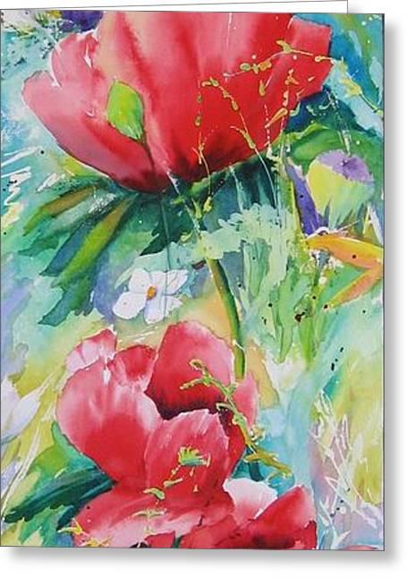 Poppies At Play Greeting Card
